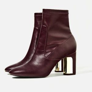 Zara Burgundy Ankle Boots with Metal Heel Detail